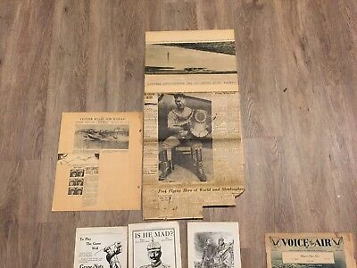 Will Rogers Wiley Post Plane crash scrapbook pages and 1914 Outlook Ad pages