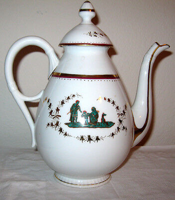 Antique 1850's French Import Porcelain Coffee Pot Classical Design Federalist