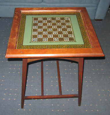 Vintage glass top chess table