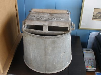Vintage Deluxe Galvanized Mop Bucket with 2 Wood Rollers