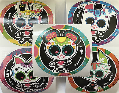 15 Day Of The Dead Sugar Skull Animals Día de Muertos Stickers Party Favors