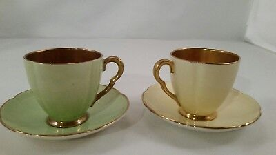 2 Carlton Ware Copper Tea Cups And Saucers