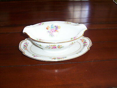 "Noritake  "" Colton "" -Porcelain - Floral - Gravy Boat  ""new old stock"""