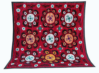 Large Uzbek Hand Embroidered Silk On Cotton Old Suzani Of Baysun Ram-274