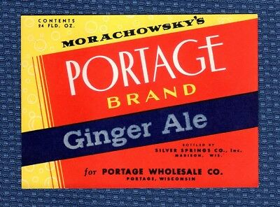 NOS Vintage MORACHOWSKY'S PORTAGE Soda Pop Bottle Label - Madison Wisconsin