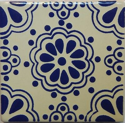 Mexican Tile Talavera Tiles High-Quality Hand Painted Blue Flower Tile T-08
