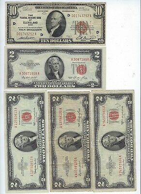 Mixed Lot of 9 U.S. Small Sized Notes ($10, $2, $1 Notes), $25 Face Value