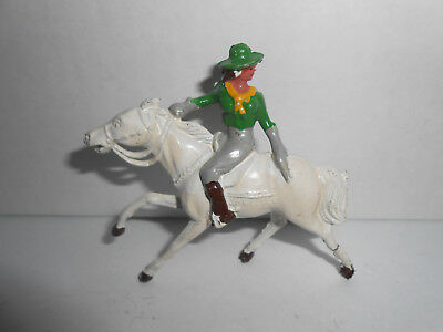vintage Johillco, J1111  cowgirl on horse, hollowcast lead toy cowboy figure, L3