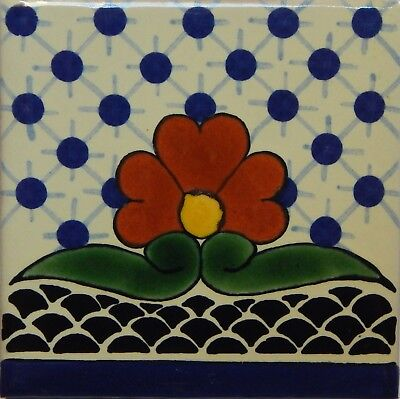 Mexican Tile Talavera Tiles High-Quality Hand Painted Flower Tile T-11