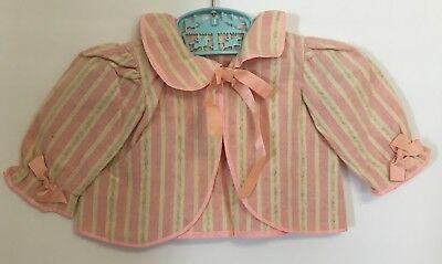 Vintage Girls Toddlers Large Doll Bed Jacket Pink Striped w/ Pink Ribbon Ties
