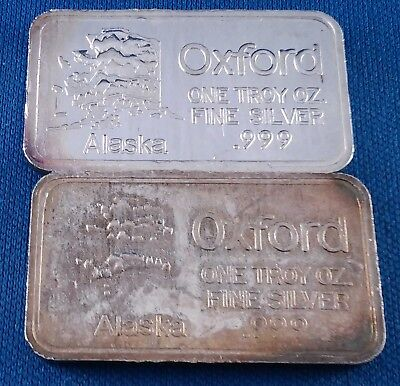 Lot of 2 Different Vintage Oxford Alaska 1 Ounce .999 Silver Art Bars