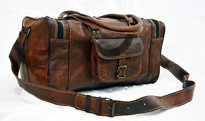 Men's Brown Vintage Lightweight Leather Cowhide Travel Luggage Duffle Gym Bags