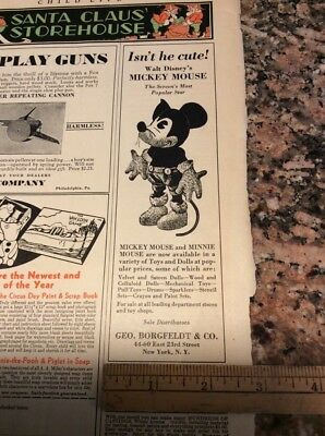 Very Early Vintage Antique Mickey Mouse Minnie Toy Doll Ad From 1931 Borgfeldt