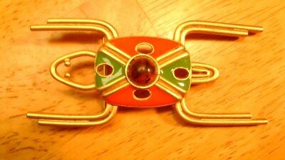 Modernistic Geometric FROG PIN Gold Tone Red Green Odd Unusual Jelly Belly