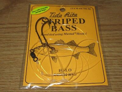 6 pack Mustad 6 per pack Striped Bass 6//0 Tide Rite Bronze Snelled Hooks