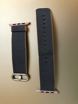 Apple Watch Woven Nylon Band 42mm- Light Pink/Midnight Blue- Excellent Condition