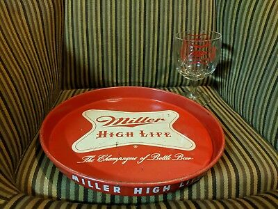 Vintage Tin Litho Advertising Tray Miller High Life Beer PLUS Vintage Chalice