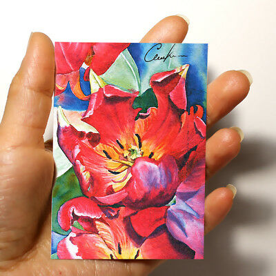 """ORIGINAL ART PICTURE MODERN WATERCOLOR HAND PAINTING DRAWING ACEO """"Flowers"""""""