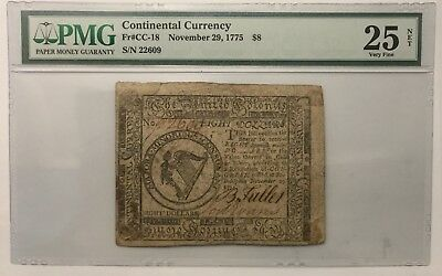 1775 Colonial Note $8 - 25 VF