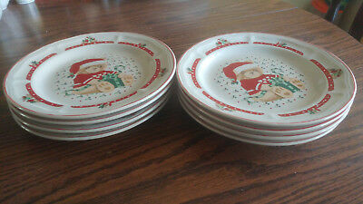Lot of 4 Tienshan Theodore Bear w/ Present CHRISTMAS Salad Plates~CLEARANCE