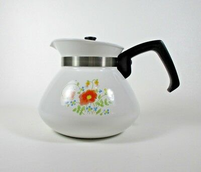 Corning Ware Wildflower 6 Cup Teapot Spring Bouquet Collectible Tea Kettle P-104