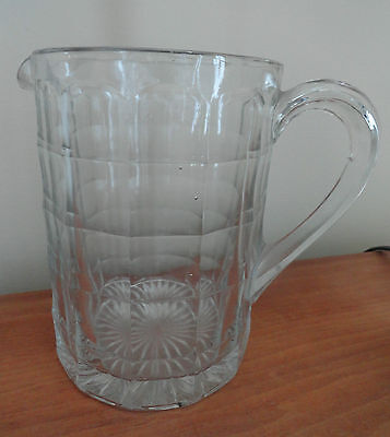 Vintage Elegant Clear Pressed Glass Pitcher in a Block Pattern