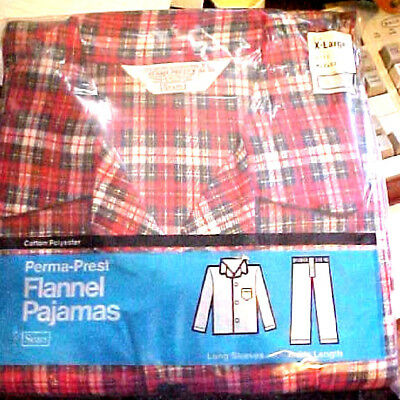 NEW VINTAGE XL 1960s Mens SEARS Plad FLANNEL Pajamas Cotton Poly PJs Sleepwear