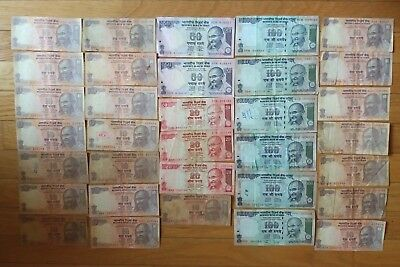 India 960 rupees 33 pieces banknote lot