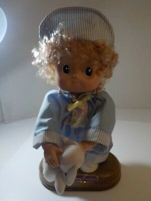 """Vintage 80s Precious Moments 12"""" HAPPY EASTER Boy w Bunny Doll on pedestal"""