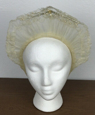Vintage Antique 1940s Ivory Tulle Bridal Headpiece Head band Crown Veil