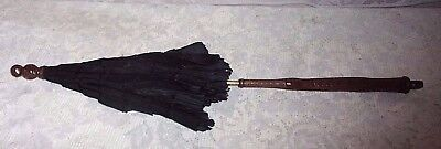 Antique Victorian Black Crepe Morning Parasol Umbrella With Carved Wood Handle