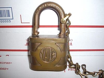 Large Brass Yale Vintage Lock And Key And Chain-Excellent--Works Well