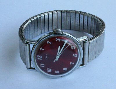 "Vintage Timex Red dial white  ""Mercury"" mechanical wind up watch"