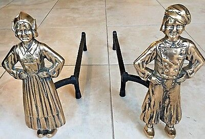 Vintage Solid Brass Andirons Dutch Man & Woman - Very Nice Detail -Heavy 23 lbs