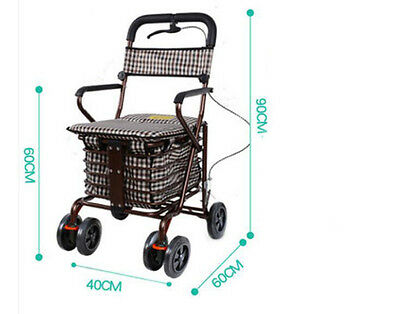 Bronze Six Wheels Convenient Foldable Shopping Luggage Trolleys With Seat *