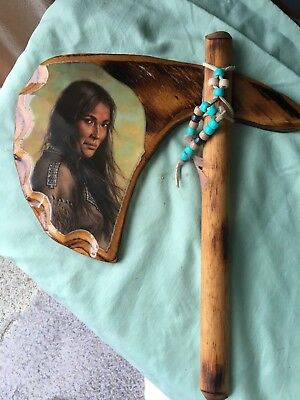 Vintage Tomahawk Shaped - Beautiful Indian Woman Art Wall Wooden Plaque