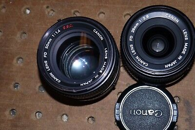 Canon FD 50mm f/1.4 S.S.C Lens plus 28mm f2.8 Canon FD Lens Lot of 2
