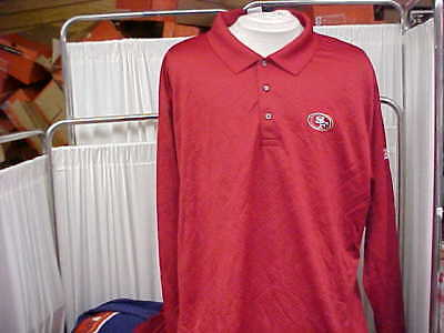 NFL San Francisco 49ers Team Issued Red Reebok Long Sleeve Polo Shirt Size- 2XL