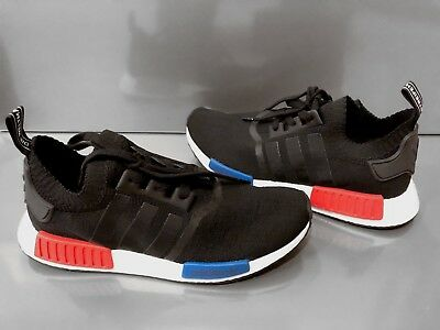 efc6421c7a69e Adidas Originals NMD R1 PK S79168 Boost PrimeKnit Core Black with Blue    Red New