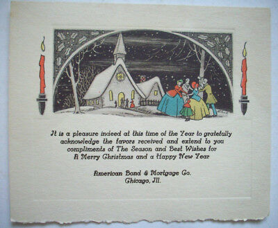 20's? American Bond & Mortgage Andrews Co Chicago Il sample Christmas card 1F*