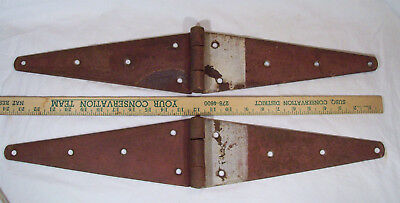 "Pair Large 24"" Antique Barn Door Hay Loft Strap Hinges Heavy Duty Primitive"