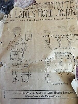 Antique 1905 Home Journal Early Sewing Pattern 1772 BOYS SUIT amazing!