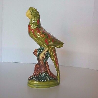 Ceramic Parrot Colorful Green on Perch Branch Figurine Statue