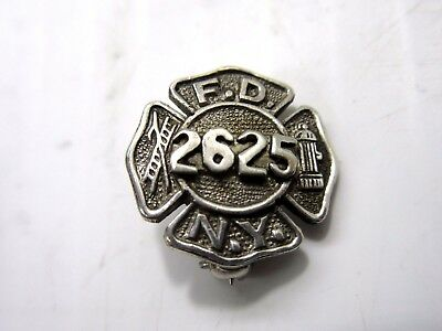 Vintage Sterling Fire Department City of New York FDNY 2625 Lapel Pin Pinback