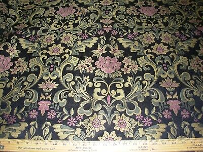 """~3 3/8 Yds~""""victorian Fleur De Lis"""" ~Embroidered Upholstery Fabric For Less~"""
