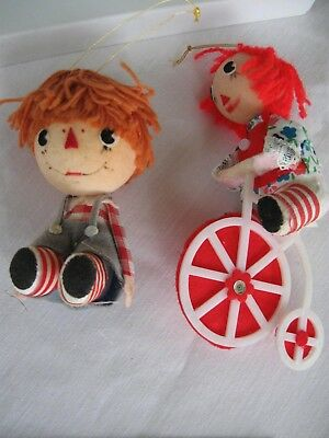 Vintage Pair Raggedy Ann With Tricycle & Andy Styrofoam Christmas Ornaments