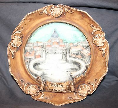 Tourist Carved Collector Plate - Rome Italy - Roma Piazza S Pietro VATICAN CITY
