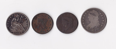 Lot Of 4 US Type coins Capped Bust, Seated Liberty, Large One Cent Various Dates