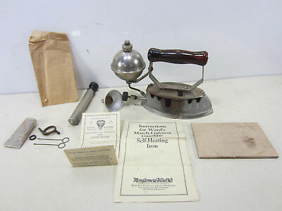 1935 Montgomery Ward Co. Gasoline Self-Heating Clothes Iron w/Accessories