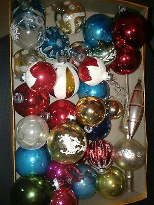Mixed lot of  vintage Glass Christmas Ornaments~ shiny brite~tree topper~stencil